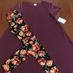 LULAROE OUTFIT! M- CARLY DRESS with OS- LEGGINGS